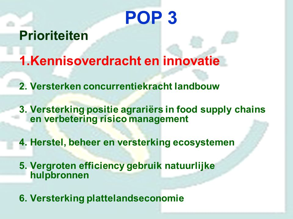 POP 3 Prioriteiten Kennisoverdracht en innovatie