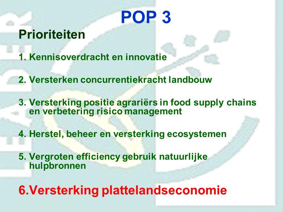 POP 3 Prioriteiten Versterking plattelandseconomie