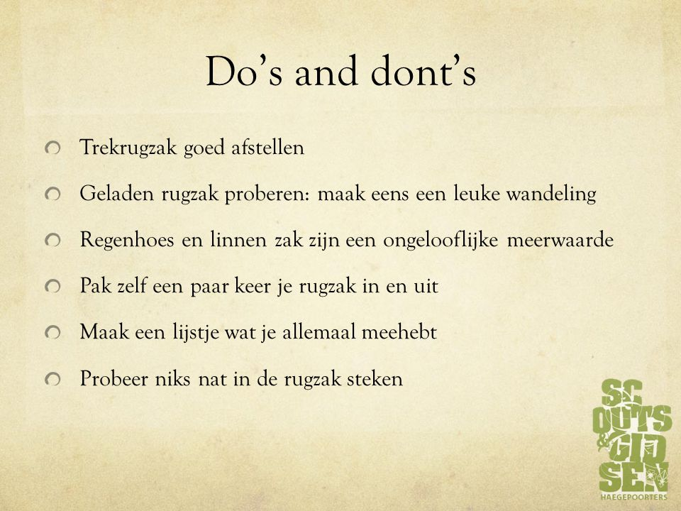 Do's and dont's Trekrugzak goed afstellen