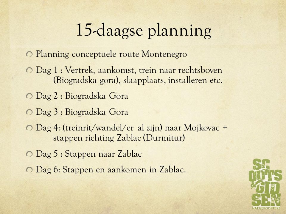 15-daagse planning Planning conceptuele route Montenegro