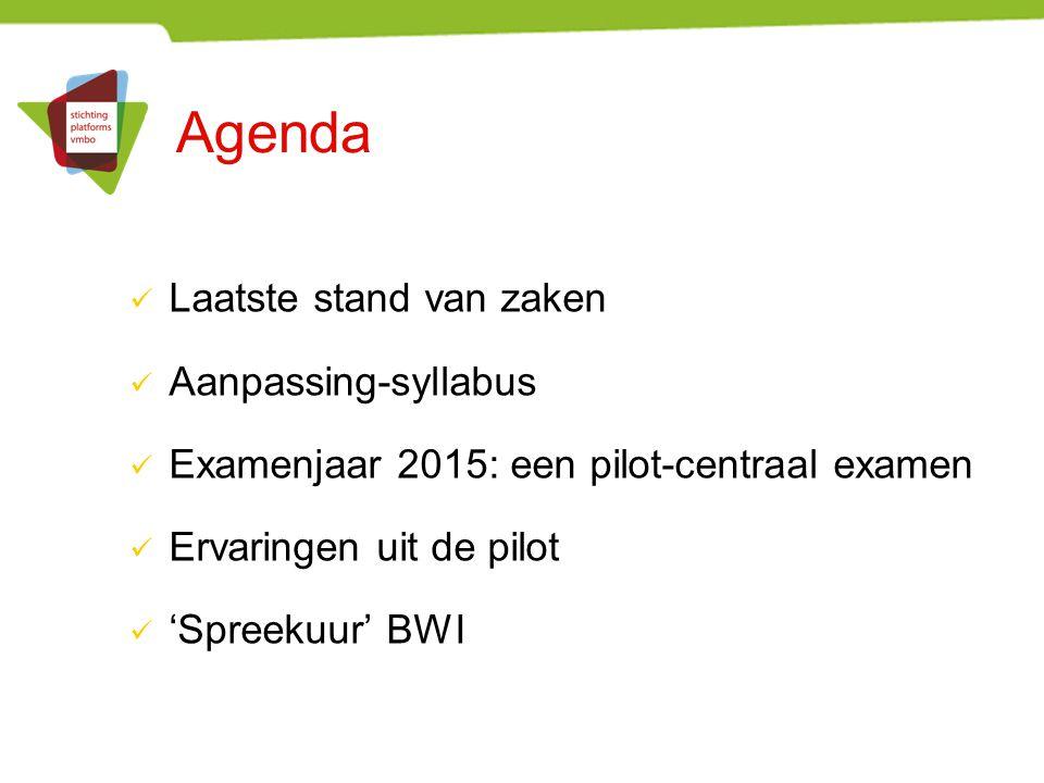 Agenda Laatste stand van zaken Aanpassing-syllabus