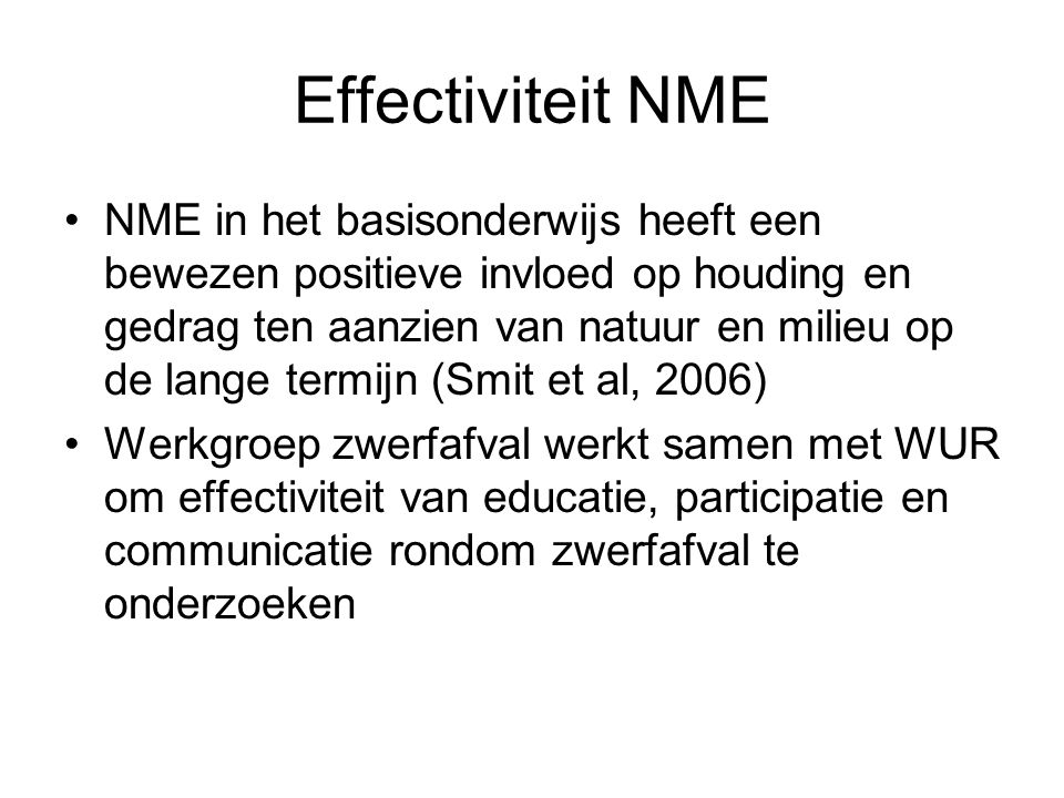 Effectiviteit NME