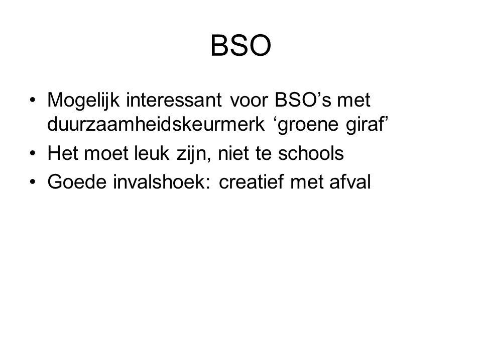 BSO Mogelijk interessant voor BSO's met duurzaamheidskeurmerk 'groene giraf' Het moet leuk zijn, niet te schools.