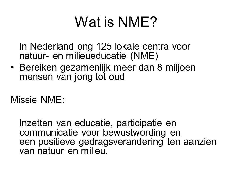 Wat is NME In Nederland ong 125 lokale centra voor natuur- en milieueducatie (NME) Bereiken gezamenlijk meer dan 8 miljoen mensen van jong tot oud.