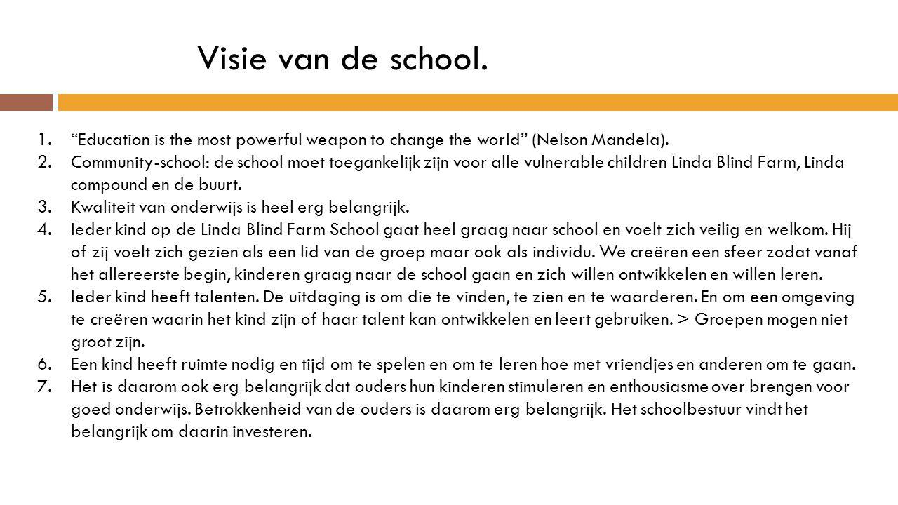 Visie van de school. Education is the most powerful weapon to change the world (Nelson Mandela).