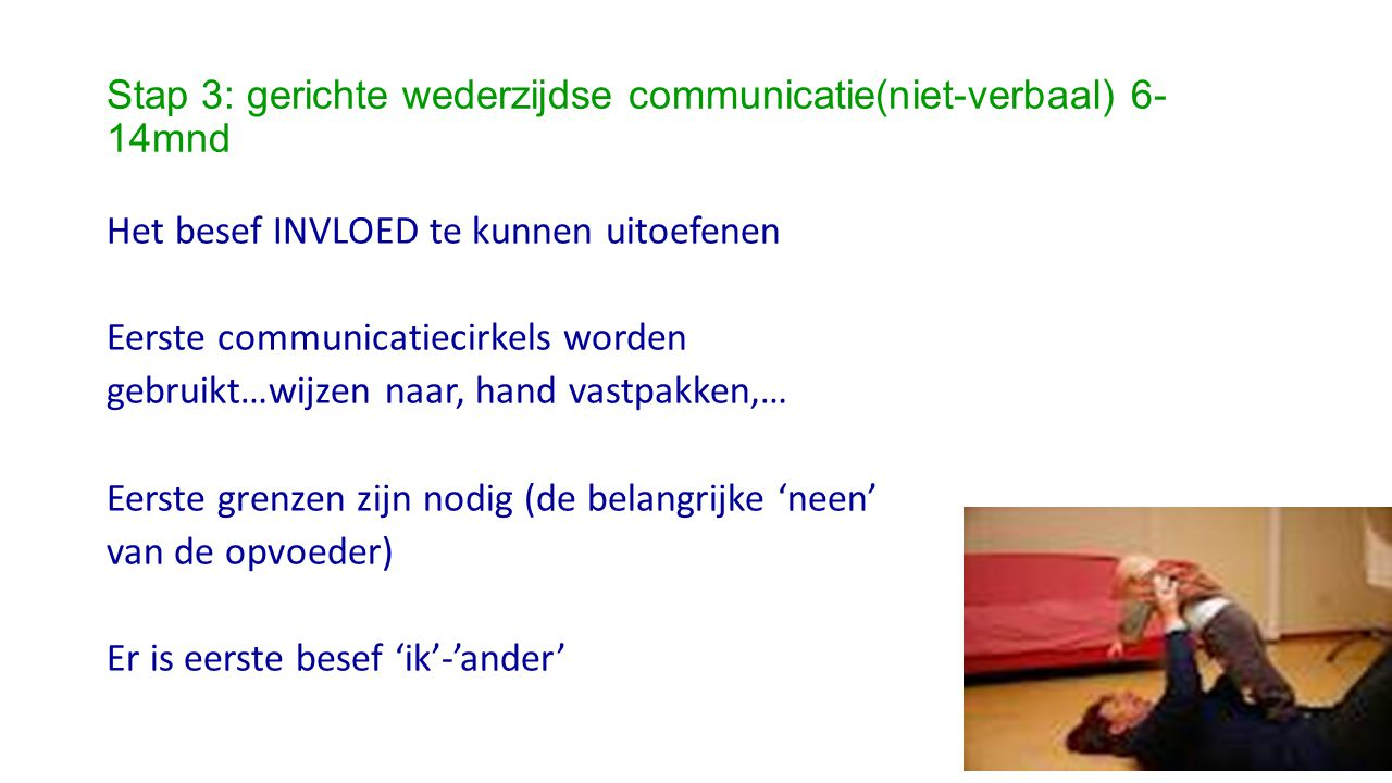 Stap 3: gerichte wederzijdse communicatie(niet-verbaal) 6-14mnd