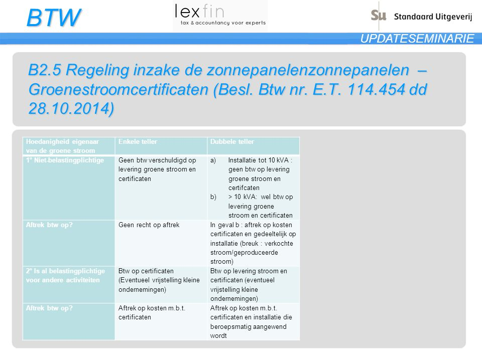 B2.5 Regeling inzake de zonnepanelenzonnepanelen – Groenestroomcertificaten (Besl. Btw nr. E.T. 114.454 dd 28.10.2014)