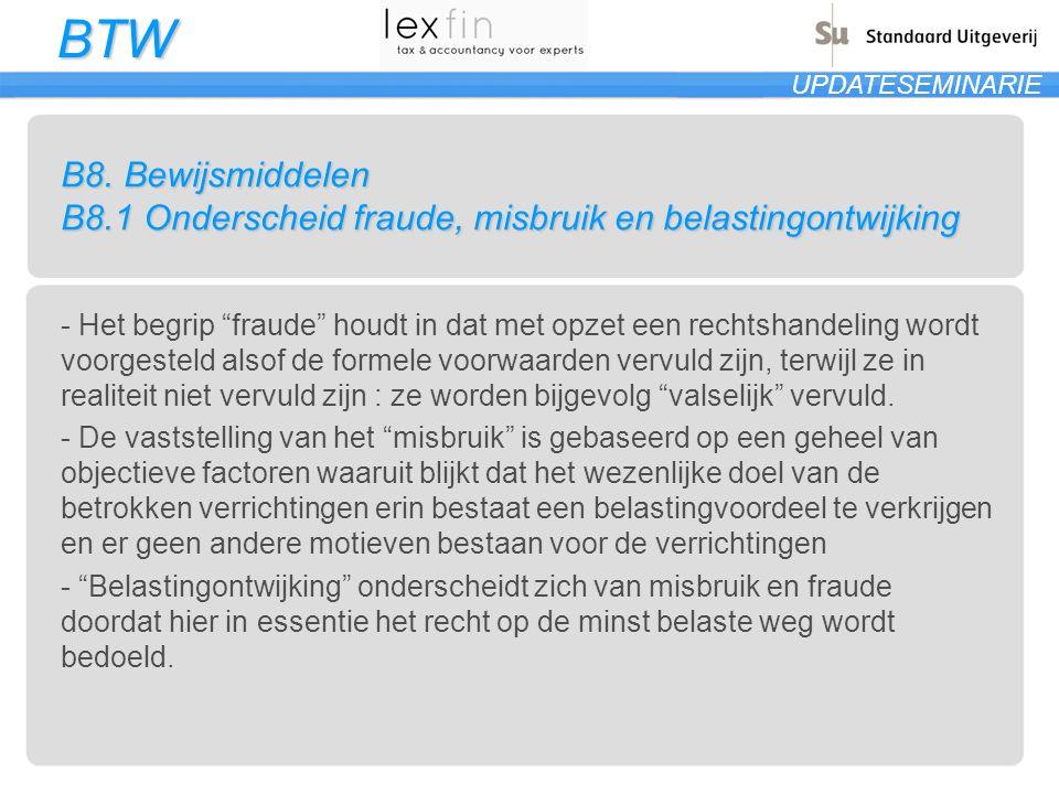 B8. Bewijsmiddelen B8.1 Onderscheid fraude, misbruik en belastingontwijking