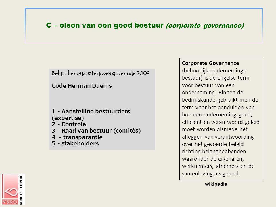 C – eisen van een goed bestuur (corporate governance)