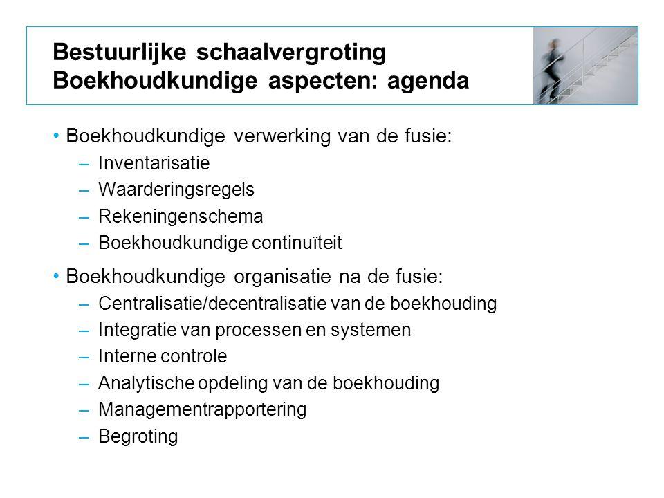 Bestuurlijke schaalvergroting Boekhoudkundige aspecten: agenda