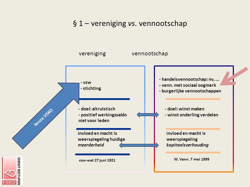 § 1 – vereniging vs. vennootschap