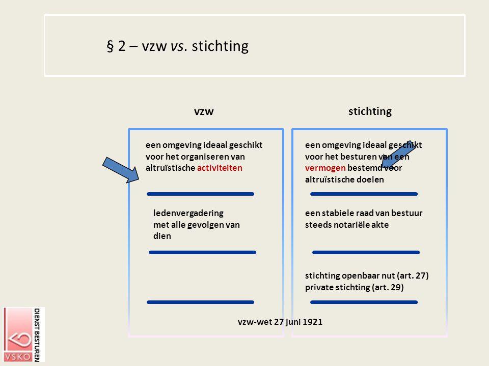 § 2 – vzw vs. stichting vzw stichting