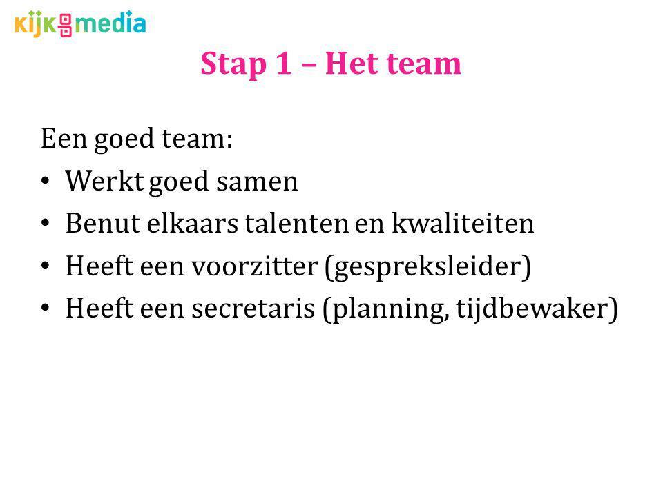 Stap 1 – Het team Een goed team: Werkt goed samen