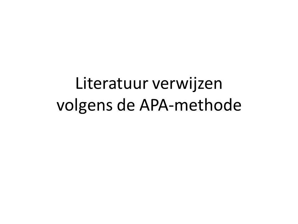 Literatuur verwijzen volgens de APA-methode