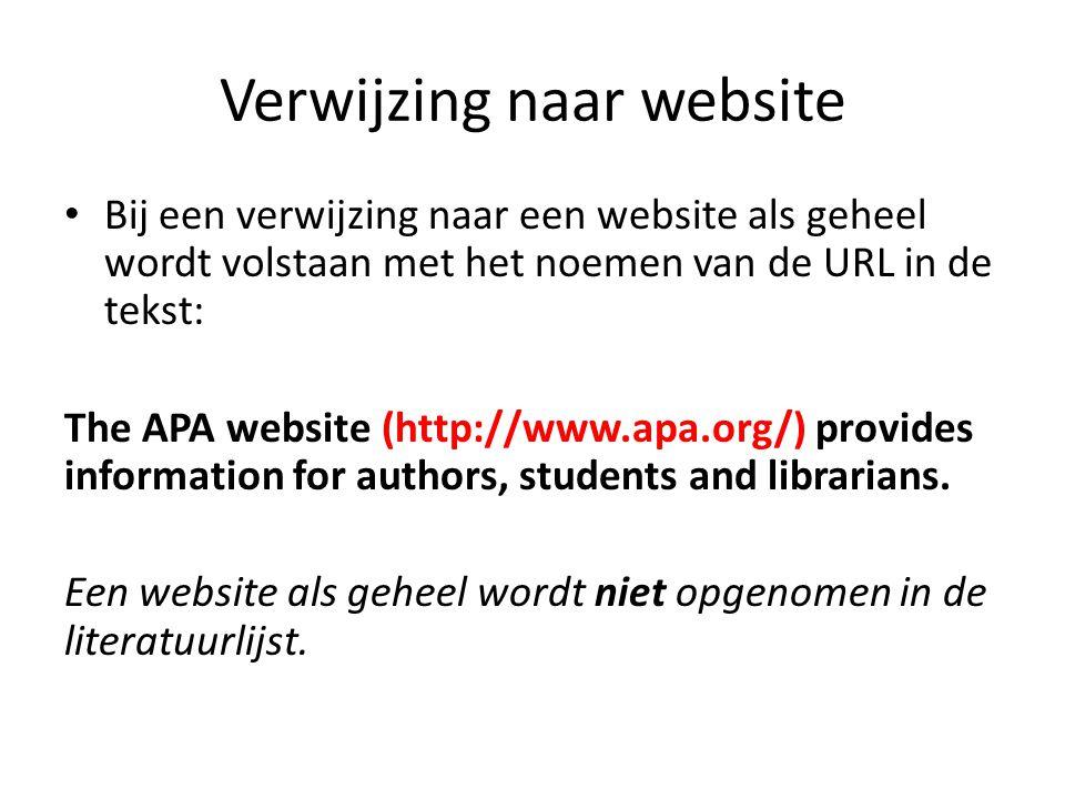 Verwijzing naar website