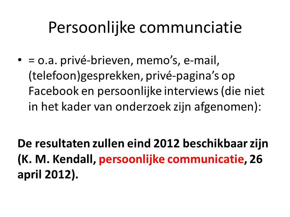 Persoonlijke communciatie