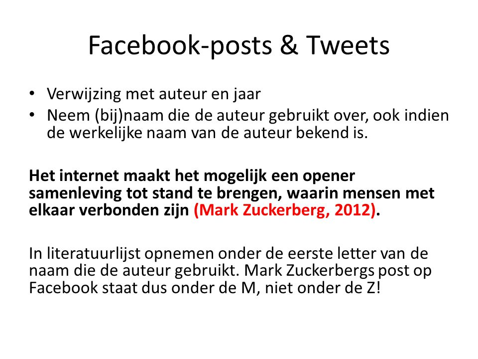 Facebook-posts & Tweets
