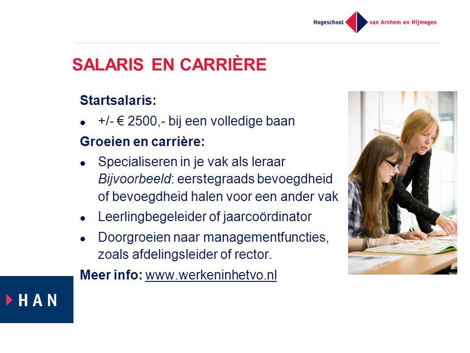 SALARIS EN CARRIÈRE Startsalaris: +/- € 2500,- bij een volledige baan