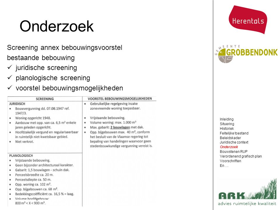 Onderzoek Screening annex bebouwingsvoorstel bestaande bebouwing