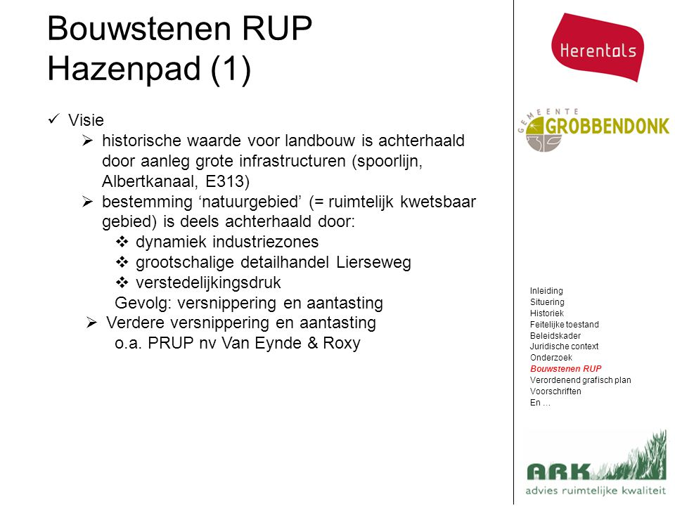 Bouwstenen RUP Hazenpad (1) Visie