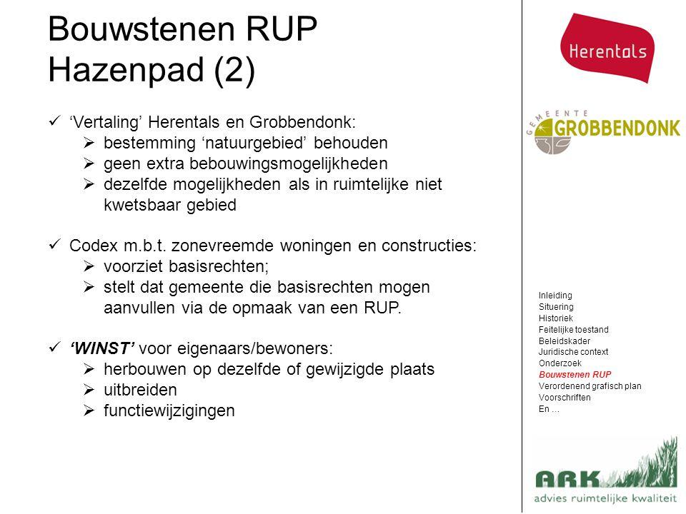 Bouwstenen RUP Hazenpad (2) 'Vertaling' Herentals en Grobbendonk:
