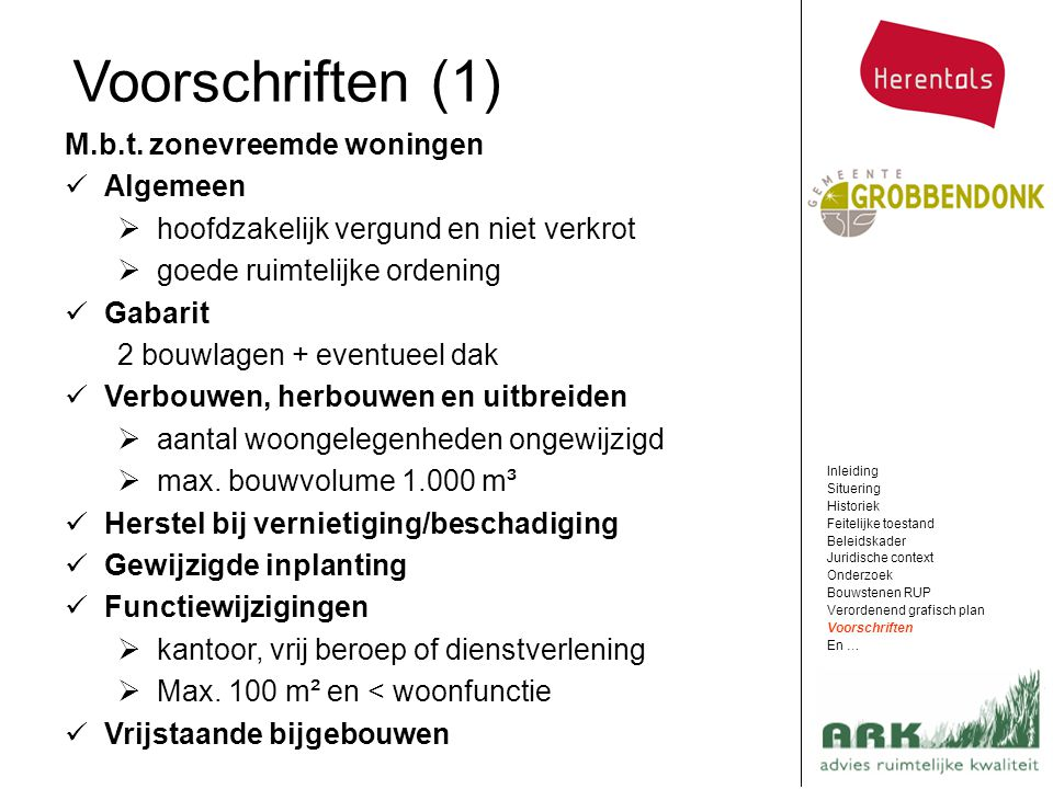 Voorschriften (1) M.b.t. zonevreemde woningen Algemeen