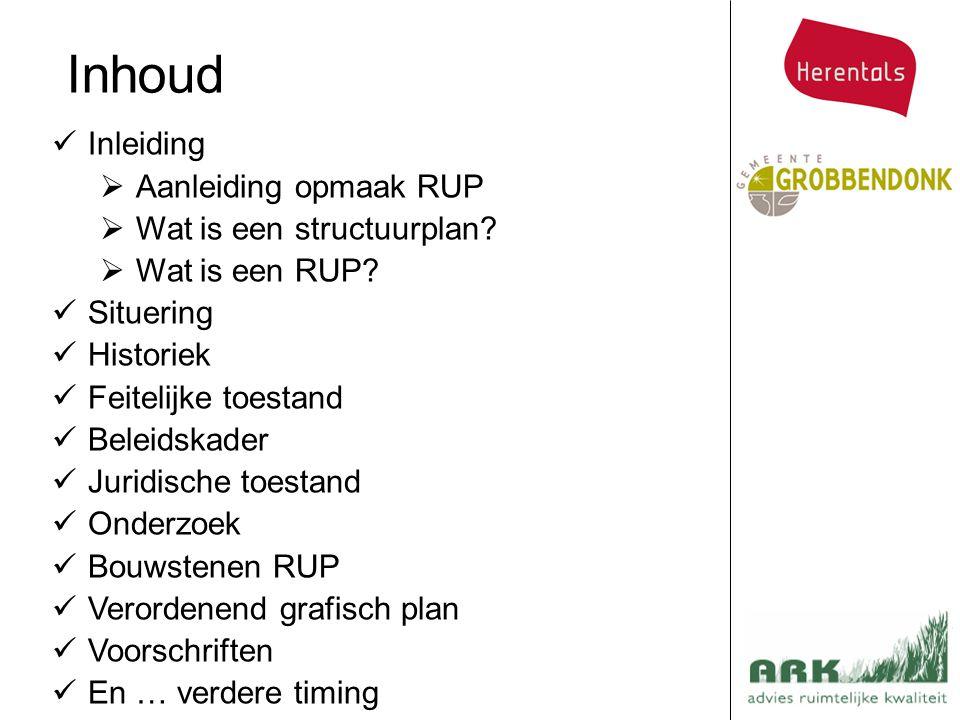 Inhoud Inleiding Aanleiding opmaak RUP Wat is een structuurplan