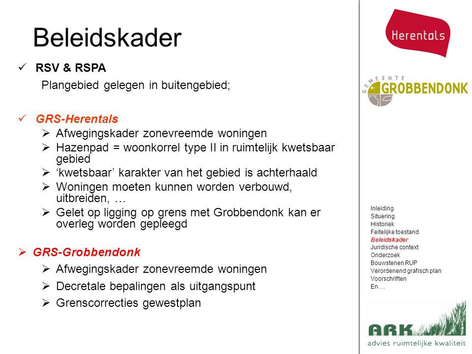 Beleidskader RSV & RSPA Plangebied gelegen in buitengebied;