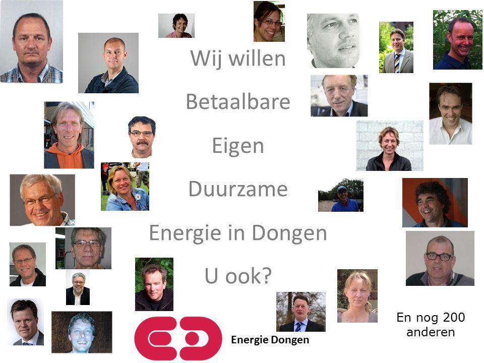 Wij willen Betaalbare Eigen Duurzame Energie in Dongen U ook