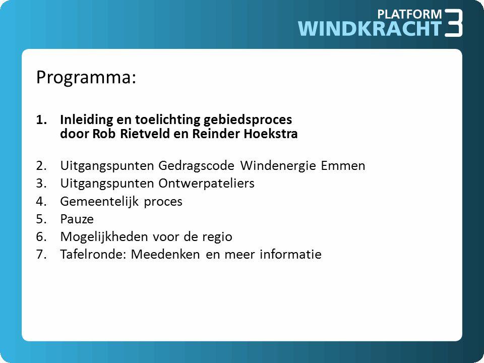 Programma: Inleiding en toelichting gebiedsproces door Rob Rietveld en Reinder Hoekstra. Uitgangspunten Gedragscode Windenergie Emmen.
