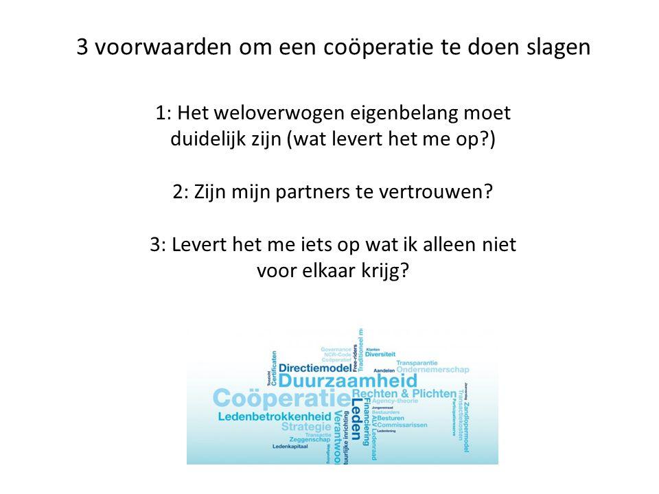 3 voorwaarden om een coöperatie te doen slagen
