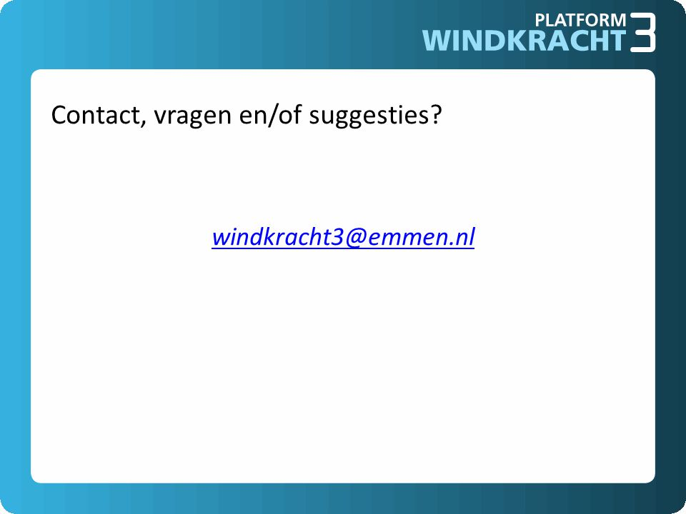 Contact, vragen en/of suggesties