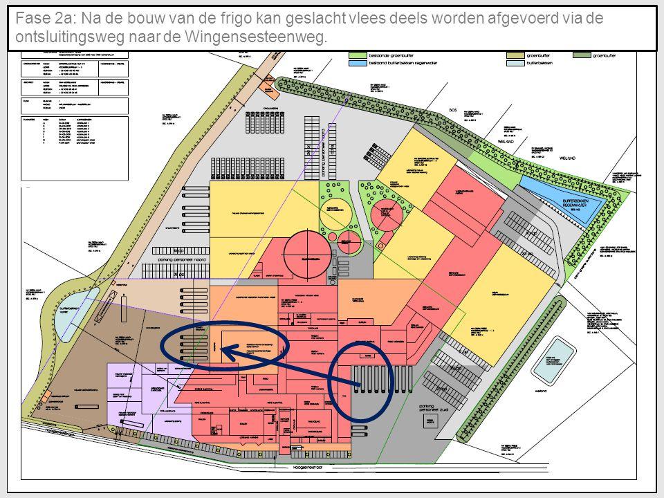 Fase 2a: Na de bouw van de frigo kan geslacht vlees deels worden afgevoerd via de ontsluitingsweg naar de Wingensesteenweg.