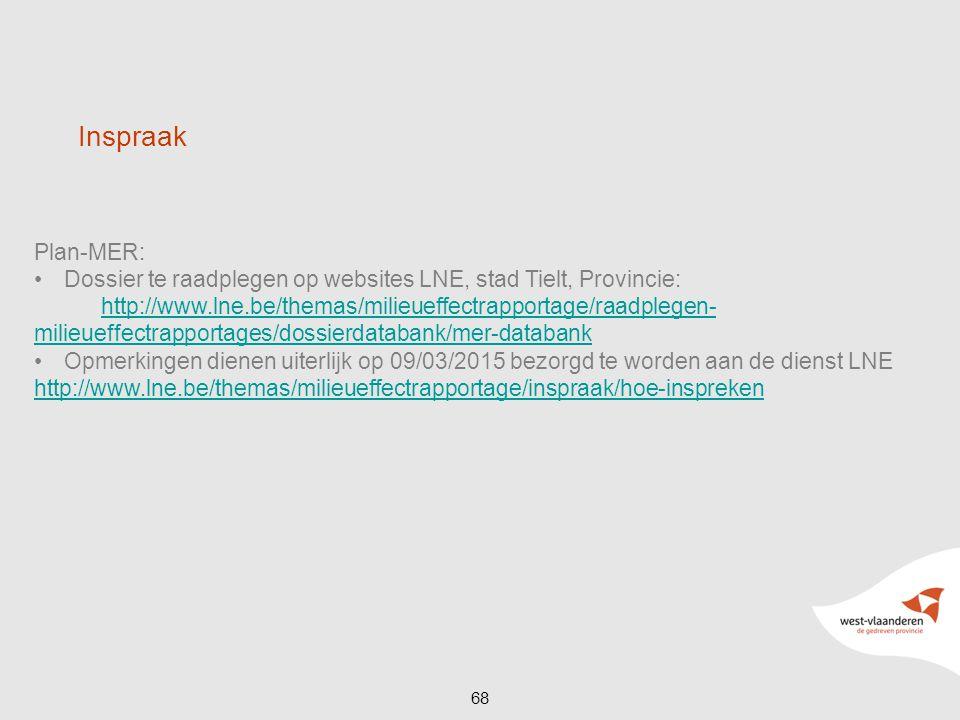 Inspraak Plan-MER: Dossier te raadplegen op websites LNE, stad Tielt, Provincie: