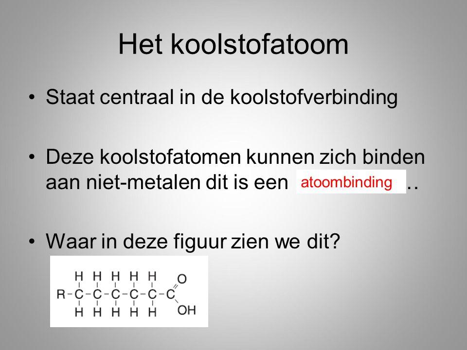 Het koolstofatoom Staat centraal in de koolstofverbinding