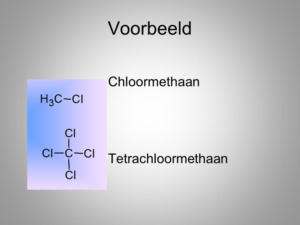 Voorbeeld Chloormethaan Tetrachloormethaan