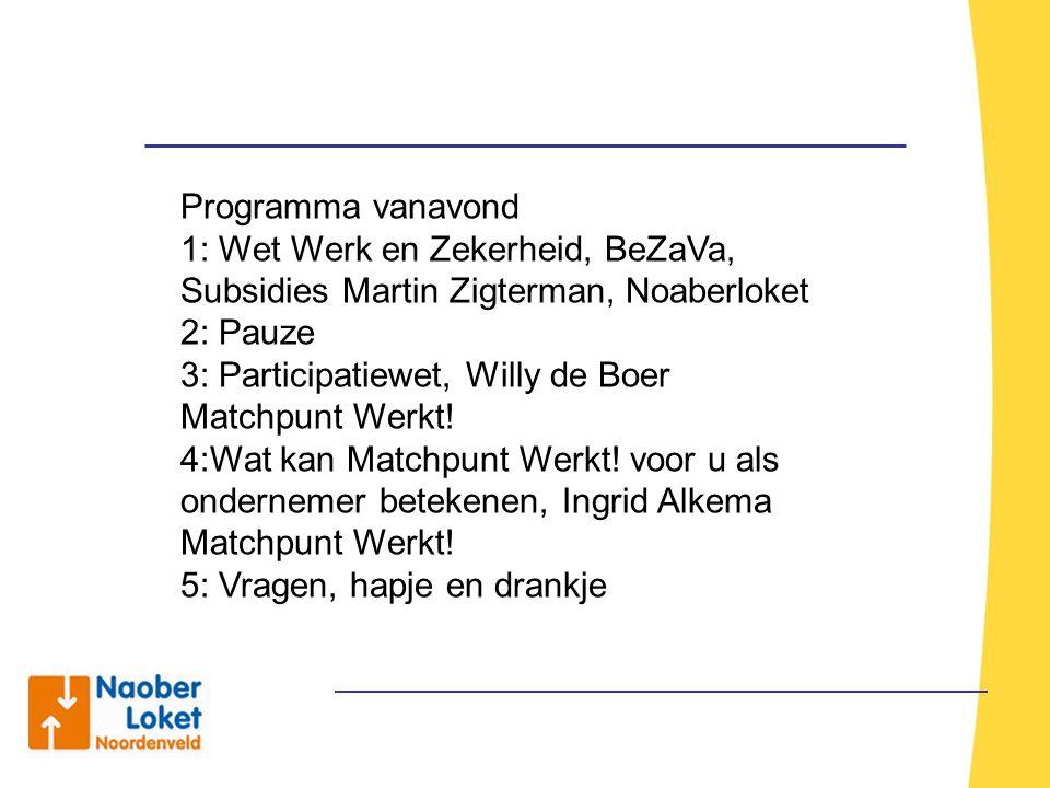 Programma vanavond 1: Wet Werk en Zekerheid, BeZaVa, Subsidies Martin Zigterman, Noaberloket. 2: Pauze.