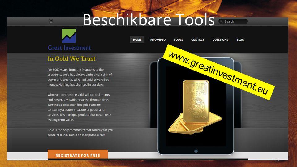 Beschikbare Tools www.greatinvestment.eu