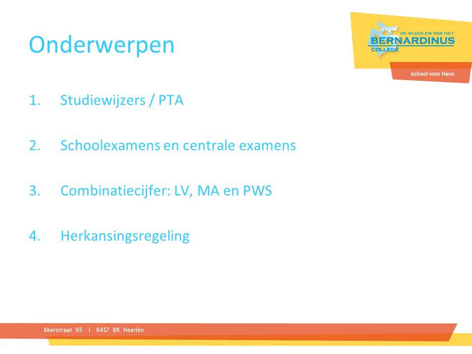 Onderwerpen Studiewijzers / PTA Schoolexamens en centrale examens