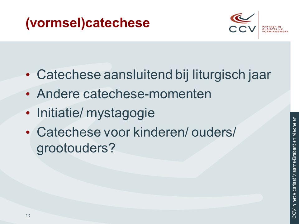 (vormsel)catechese Catechese aansluitend bij liturgisch jaar. Andere catechese-momenten. Initiatie/ mystagogie.