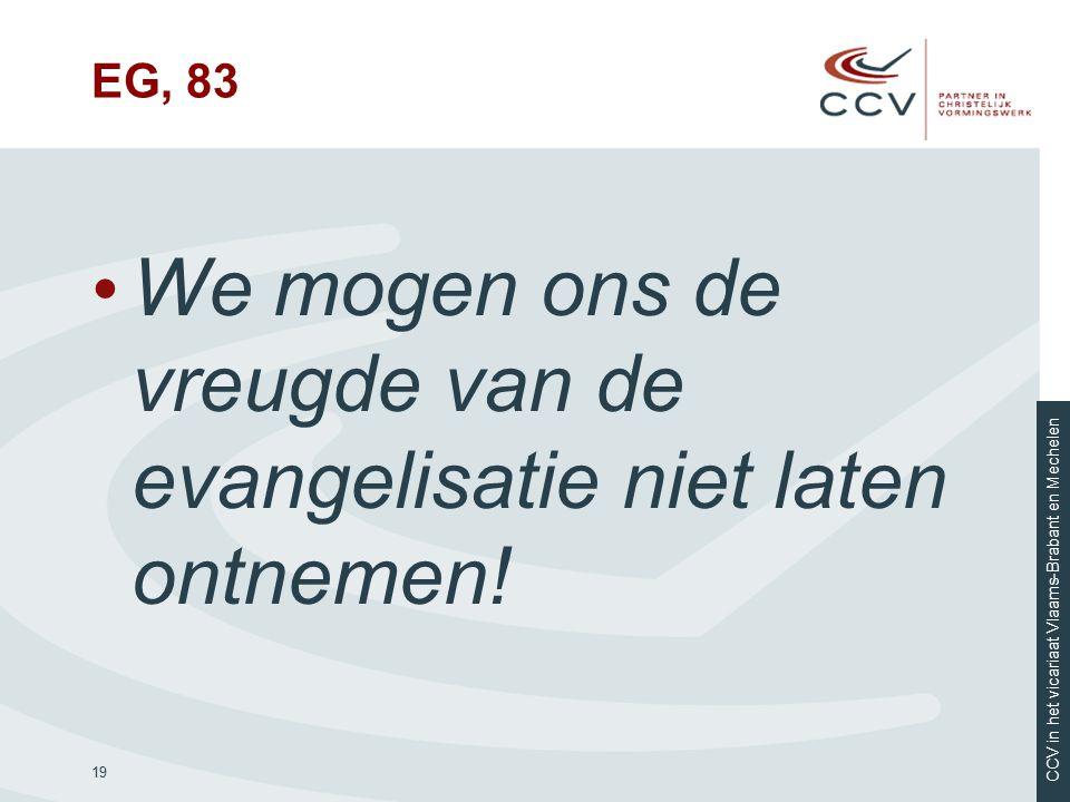 We mogen ons de vreugde van de evangelisatie niet laten ontnemen!