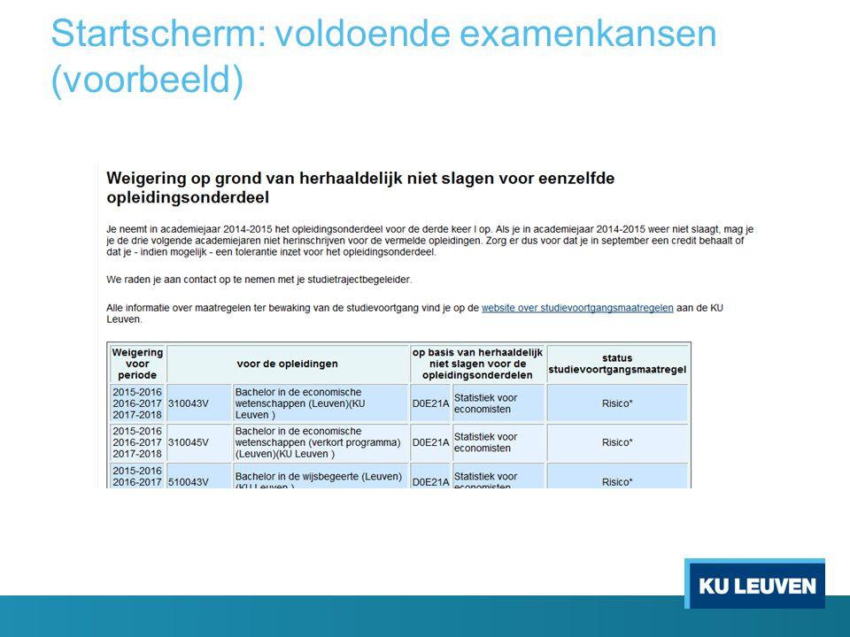 Startscherm: voldoende examenkansen (voorbeeld)