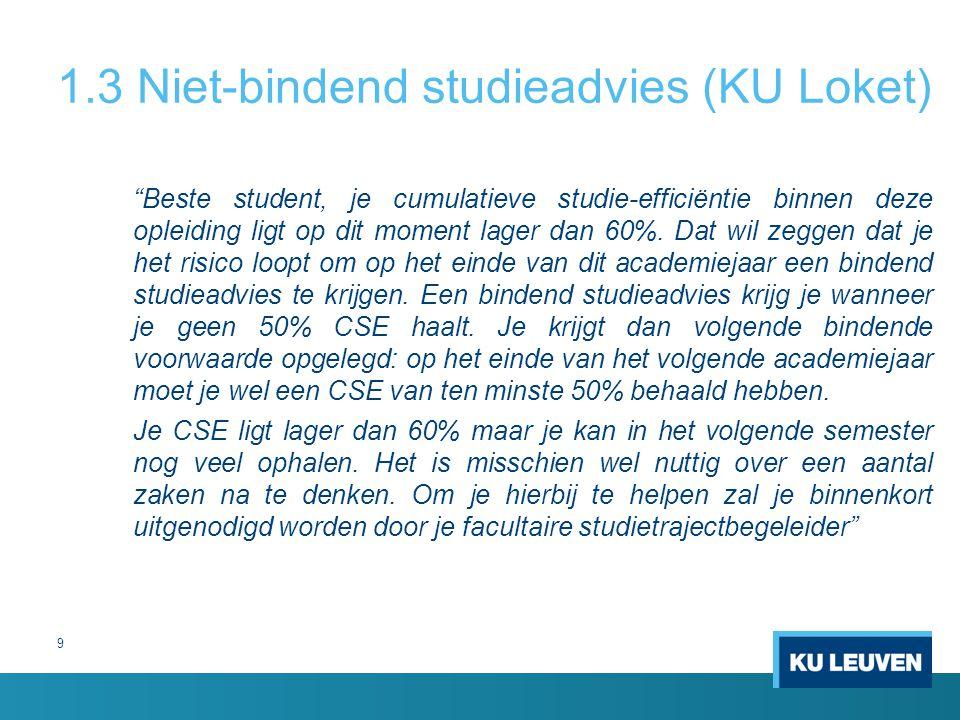 1.3 Niet-bindend studieadvies (KU Loket)