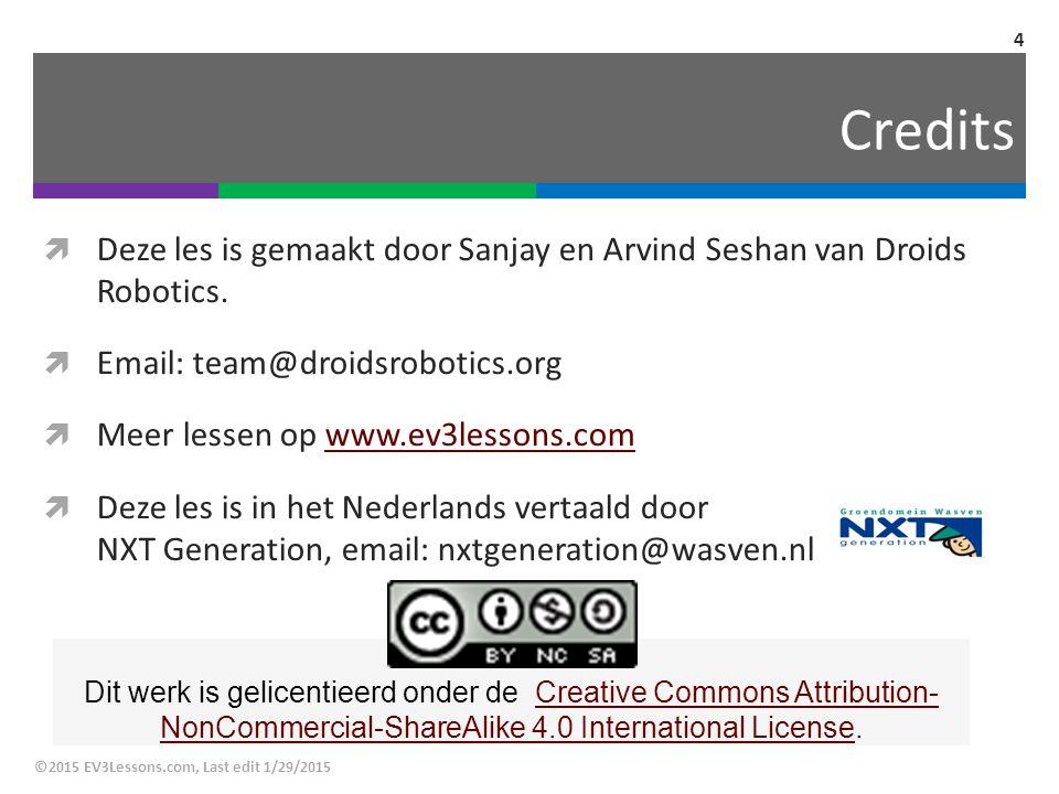 Credits Deze les is gemaakt door Sanjay en Arvind Seshan van Droids Robotics. Email: team@droidsrobotics.org.