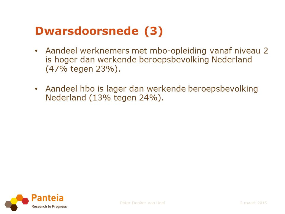 Dwarsdoorsnede (3) Aandeel werknemers met mbo-opleiding vanaf niveau 2 is hoger dan werkende beroepsbevolking Nederland (47% tegen 23%).