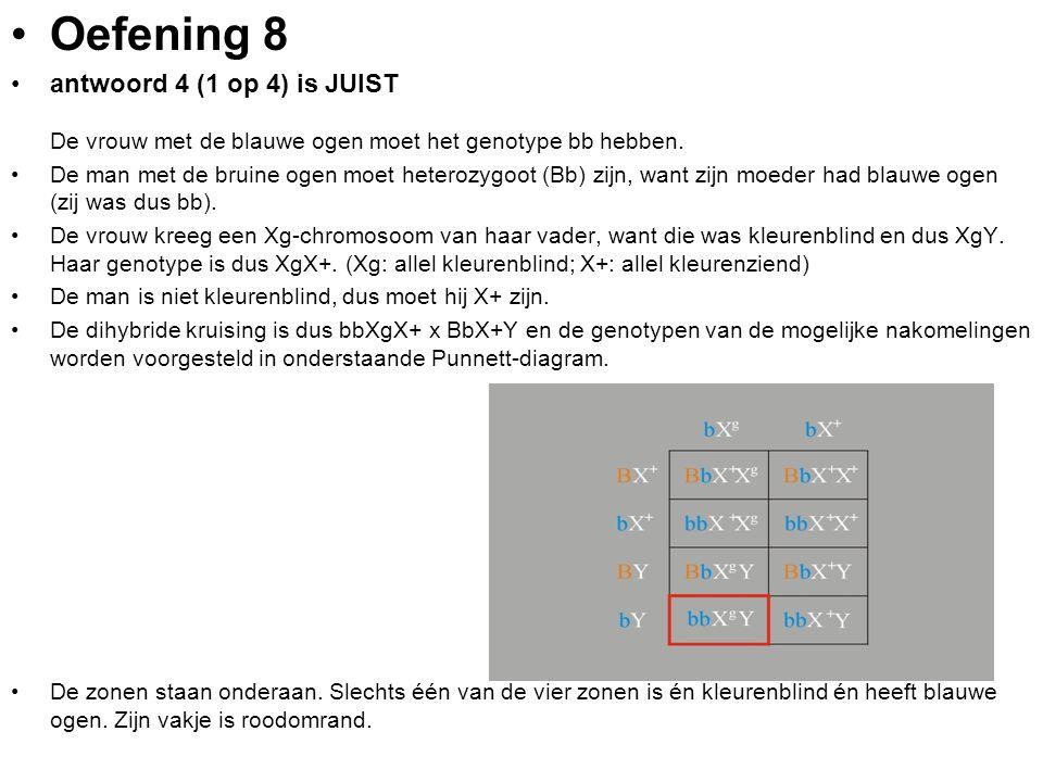Oefening 8 antwoord 4 (1 op 4) is JUIST De vrouw met de blauwe ogen moet het genotype bb hebben.