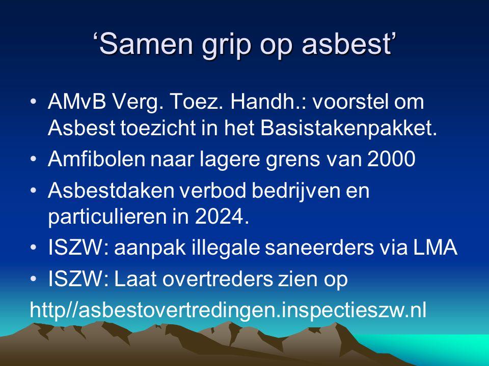 'Samen grip op asbest' AMvB Verg. Toez. Handh.: voorstel om Asbest toezicht in het Basistakenpakket.