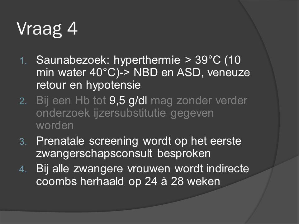 Vraag 4 Saunabezoek: hyperthermie > 39°C (10 min water 40°C)-> NBD en ASD, veneuze retour en hypotensie.