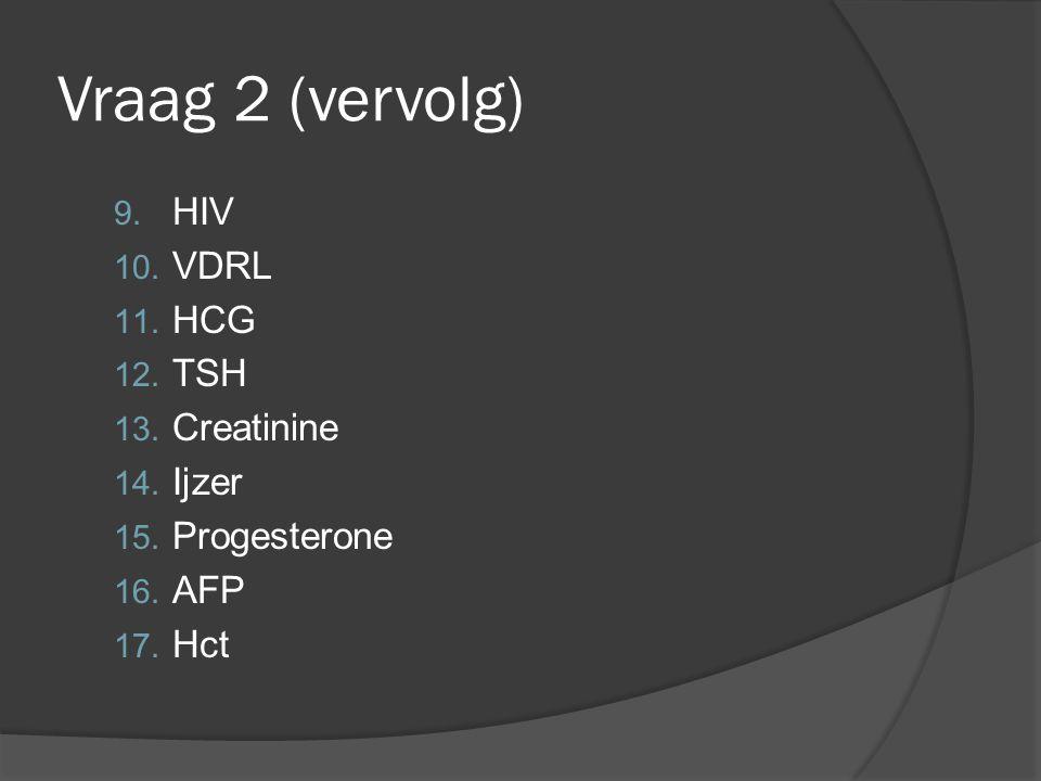 Vraag 2 (vervolg) HIV VDRL HCG TSH Creatinine Ijzer Progesterone AFP