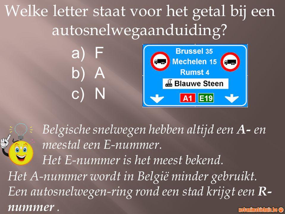 Welke letter staat voor het getal bij een autosnelwegaanduiding